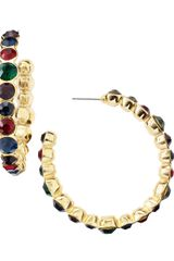 Kenneth Jay Lane Multicolor Rhinestone Hoop Earrings - Lyst