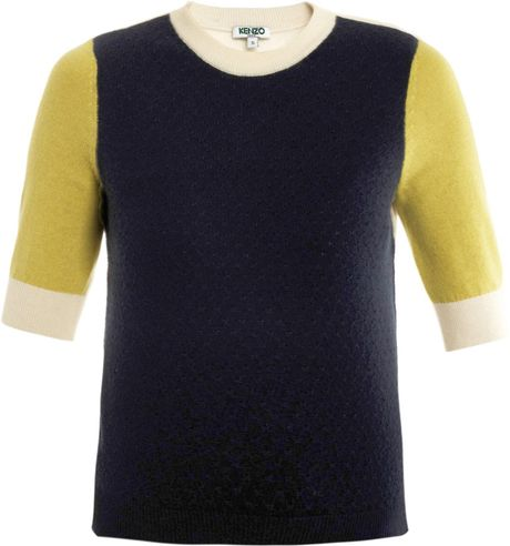 Kenzo Cashmere Blockknit Sweater in Blue (navy)