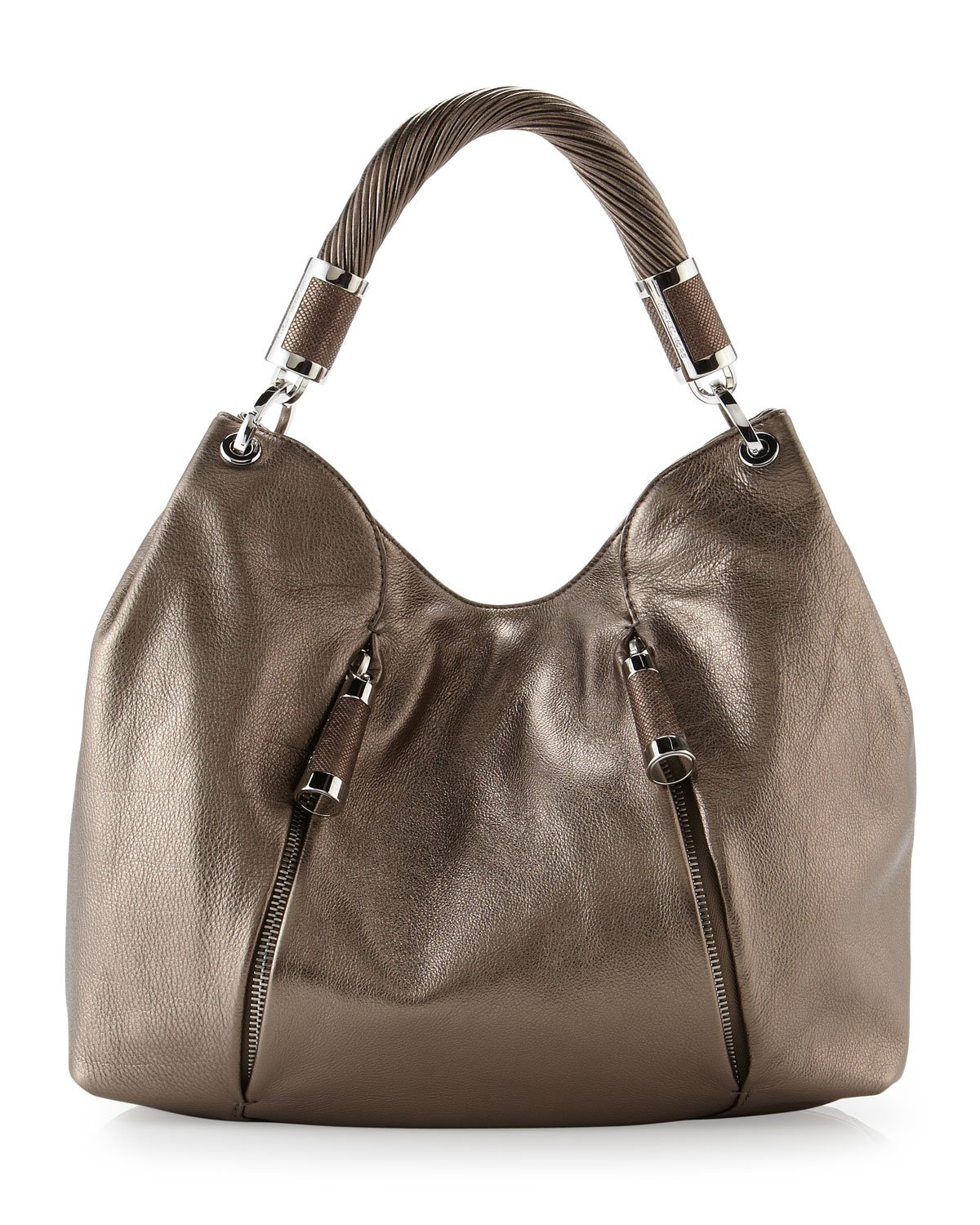 michael kors tonne zipper hobo bag in brown anthracite lyst. Black Bedroom Furniture Sets. Home Design Ideas