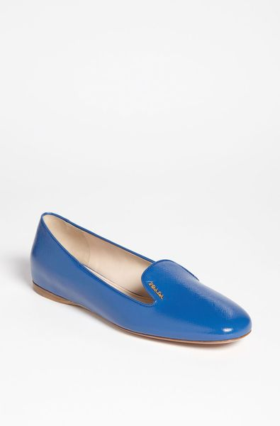 Prada Smoking Loafer in Blue - Lyst