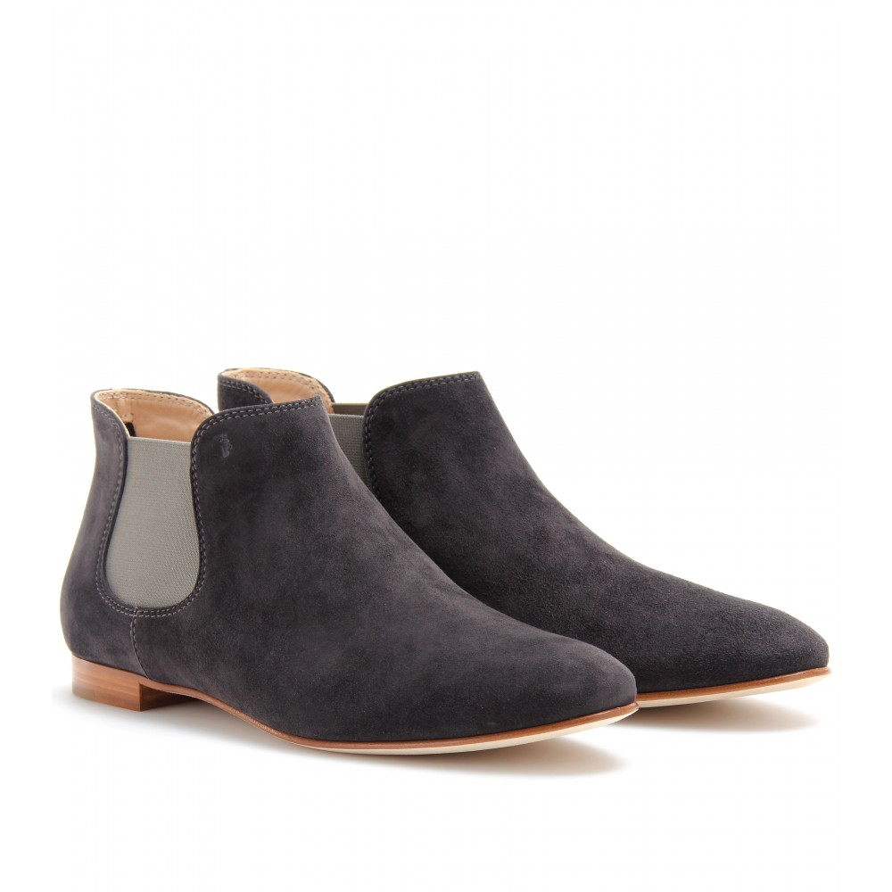 tod s suede chelsea boots in blue charcoal lyst