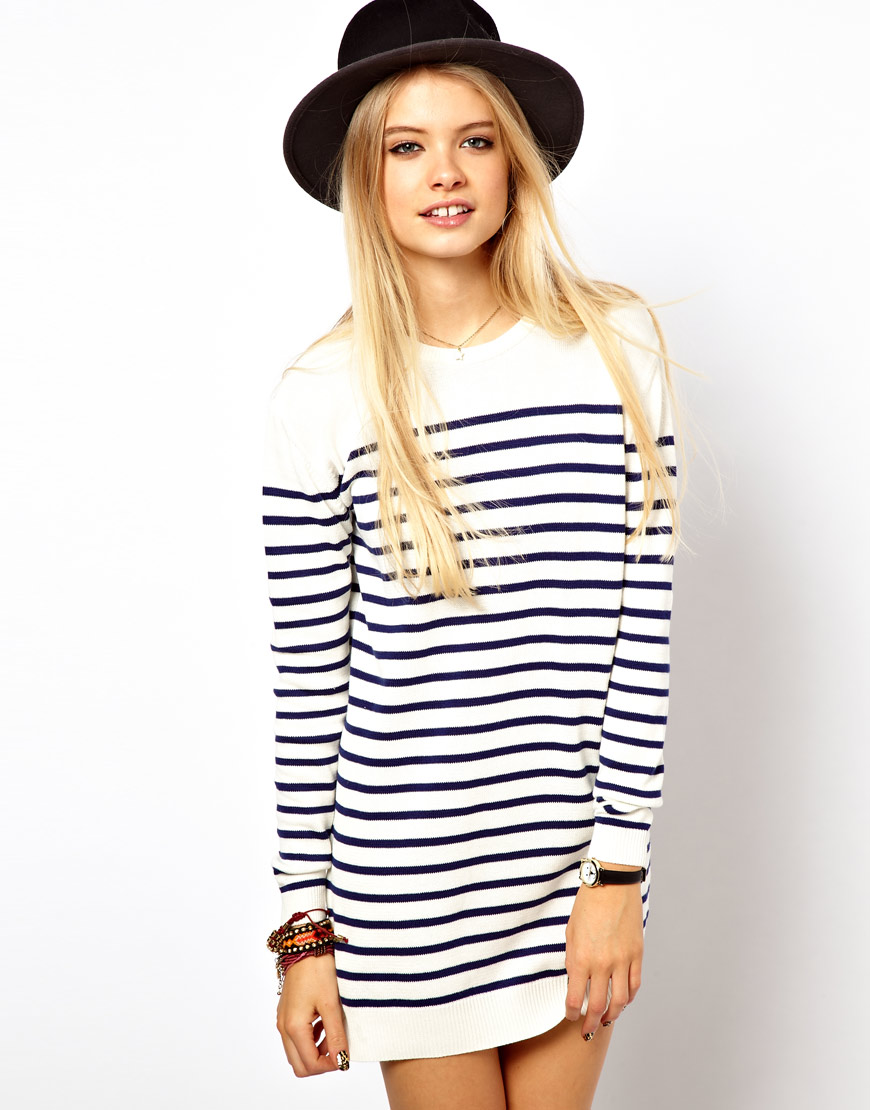Lyst Asos Striped Knit Jumper Dress In White