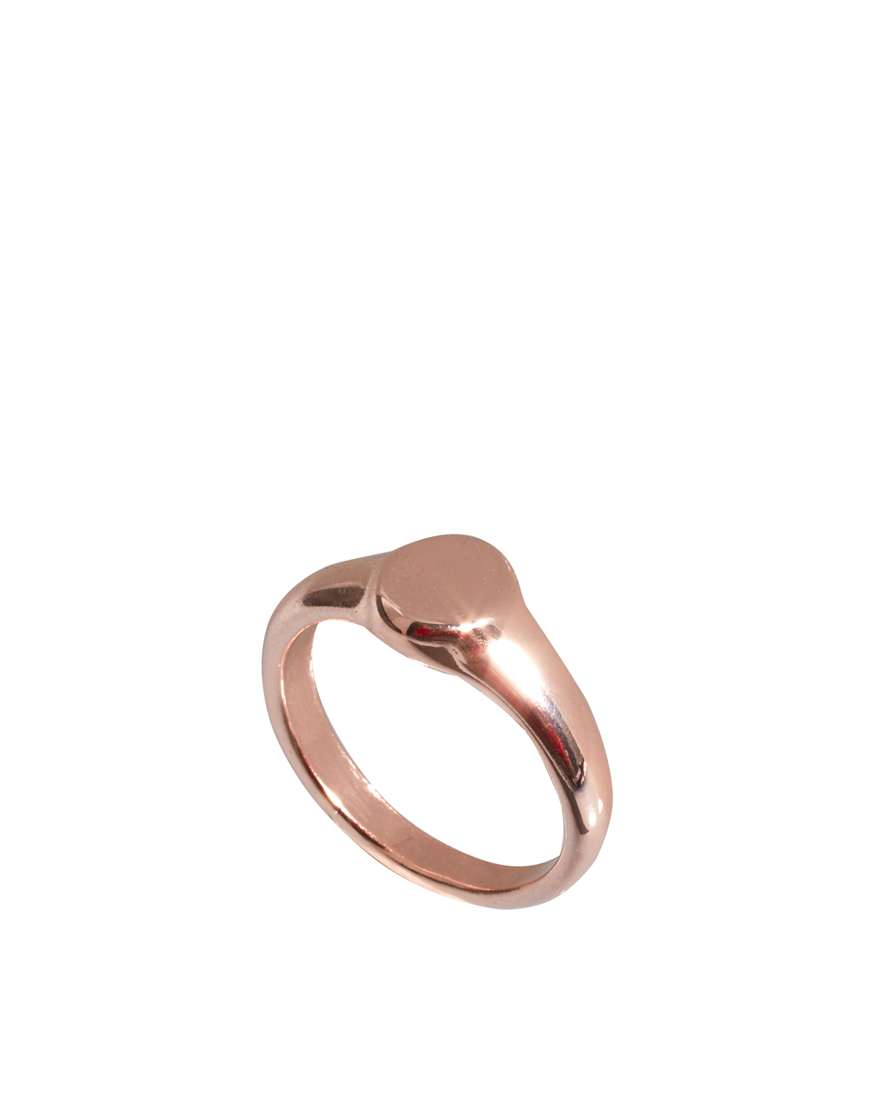 Asos Mini Oval Pinky Signet Ring in Gold rosegold
