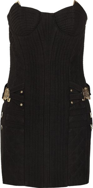 Balmain Quilted Linen Mini Dress - Lyst