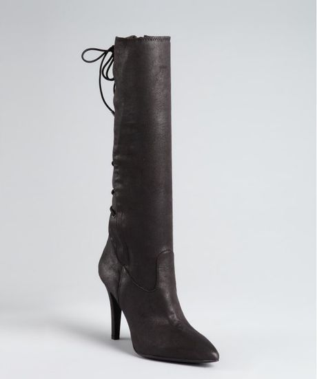 bcbgeneration black stretch suede erinn lace back boots in