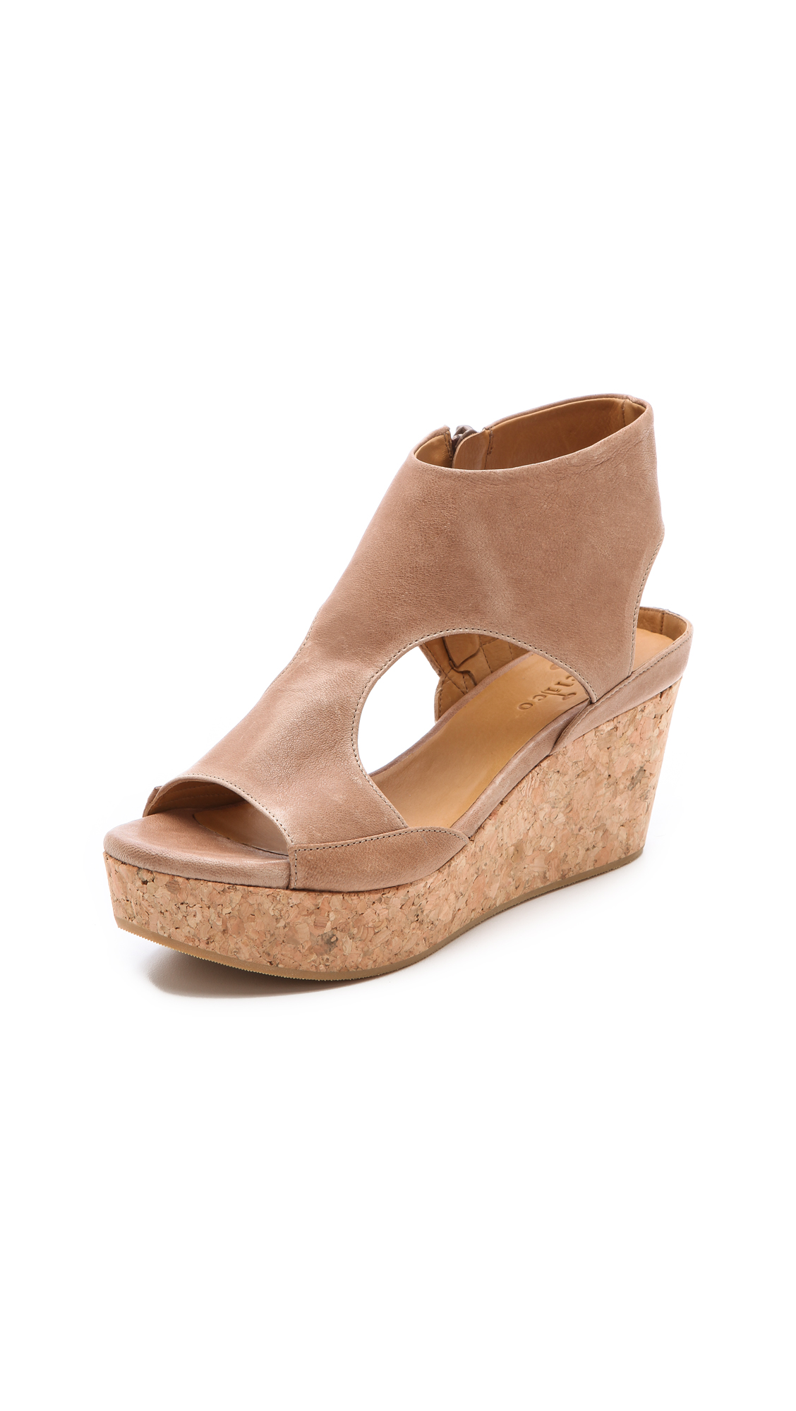 coclico mosaic cork wedge sandals in beige lyst