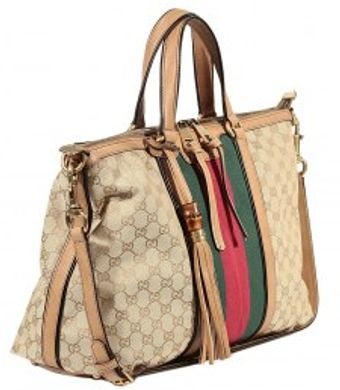 Gucci Rania Gg Shopping Bag Web - Lyst