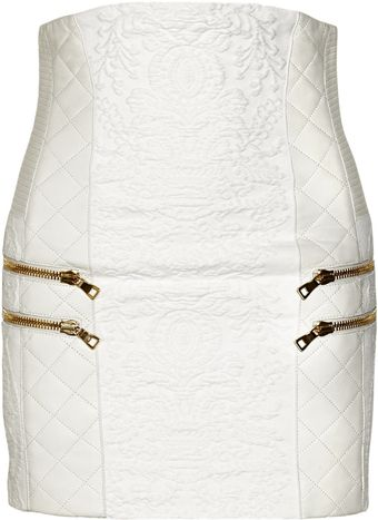 Balmain Leather Trimmed Cotton-blend Brocade Skirt - Lyst