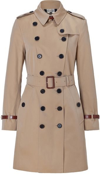 Burberry Gabardine Long Slim Fit Leather Detail Queenshouse Trench Coat - Lyst