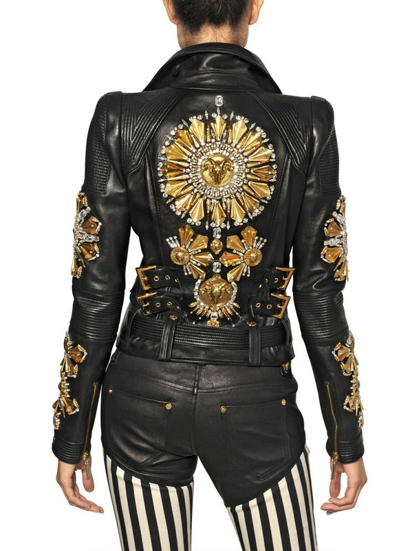 Fausto Puglisi Embroidered Nappa Leather Biker Jacket In Black | Lyst