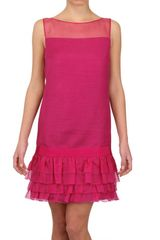 Giambattista Valli Organza Ruffled Hem Linen Dress - Lyst