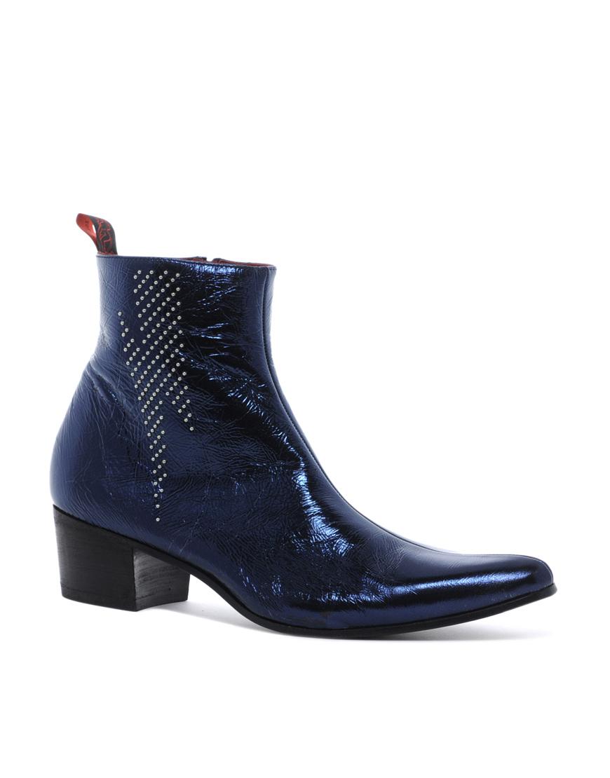 jeffery west lightning bolt chelsea boots in black blue