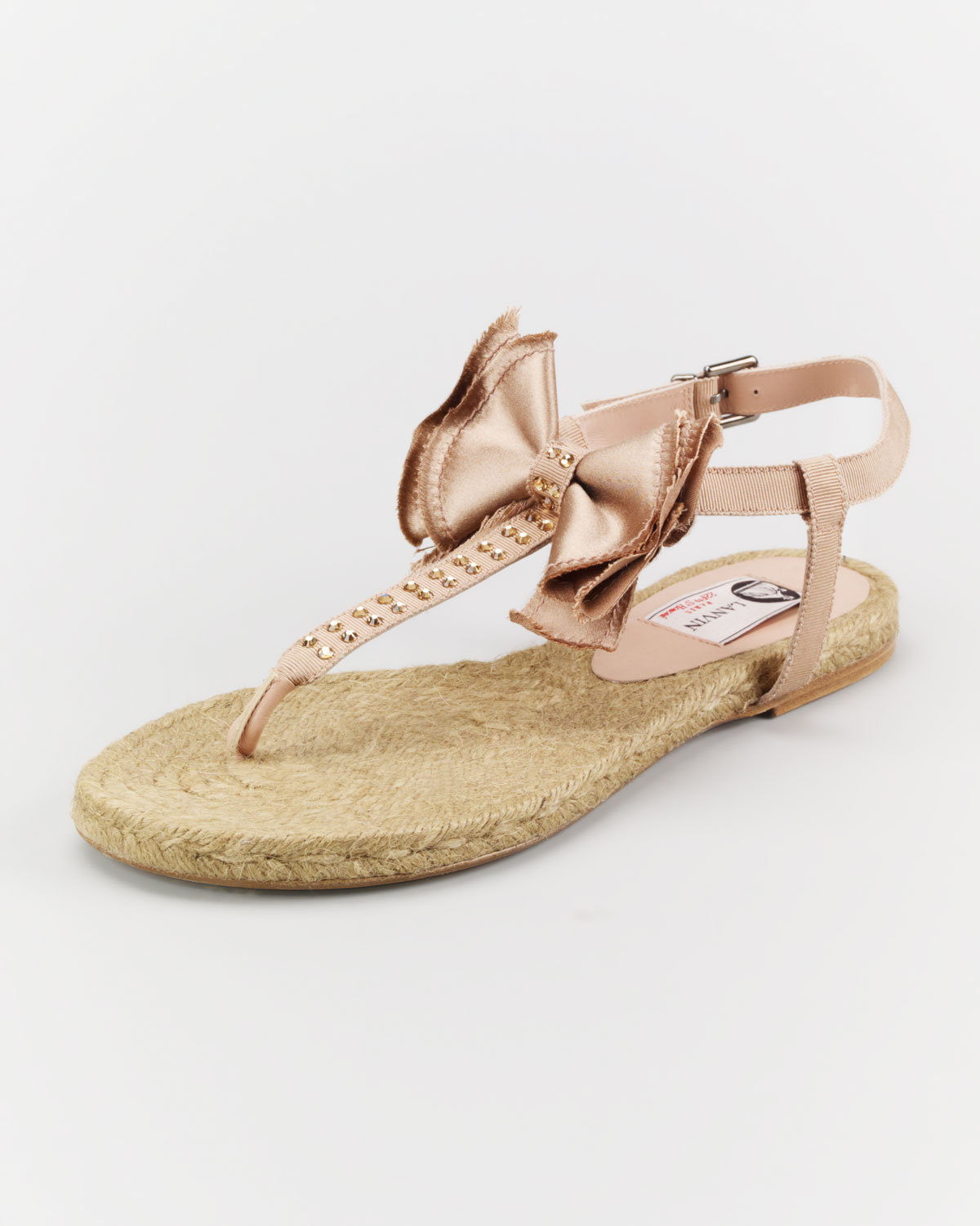 4f969c5f1f148 Lyst - Lanvin Satin Bow Espadrille Thong Sandal in Brown