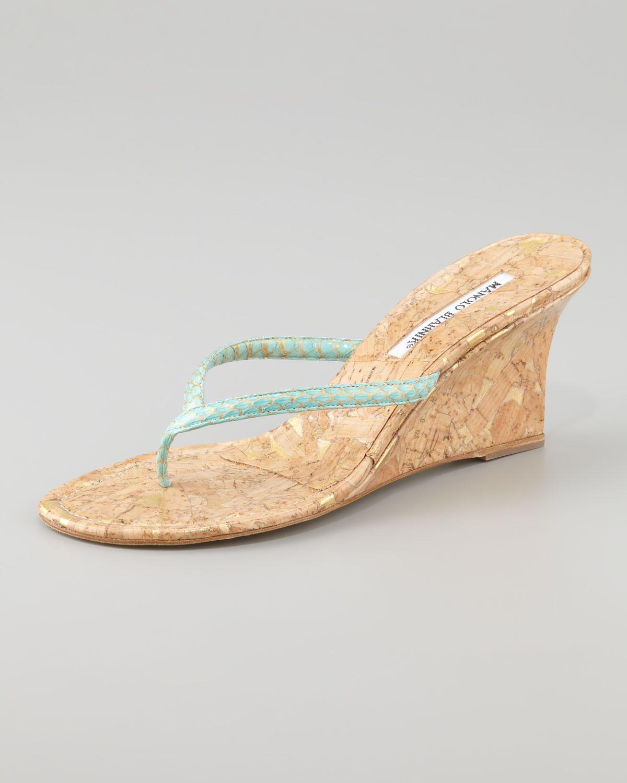 Lyst - Manolo Blahnik Patwedfac Snakeskin Wedge Thong Sandal in Blue