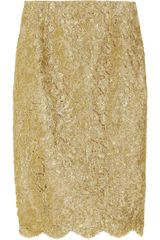 Michael Kors Metallic Soutache Lace Skirt