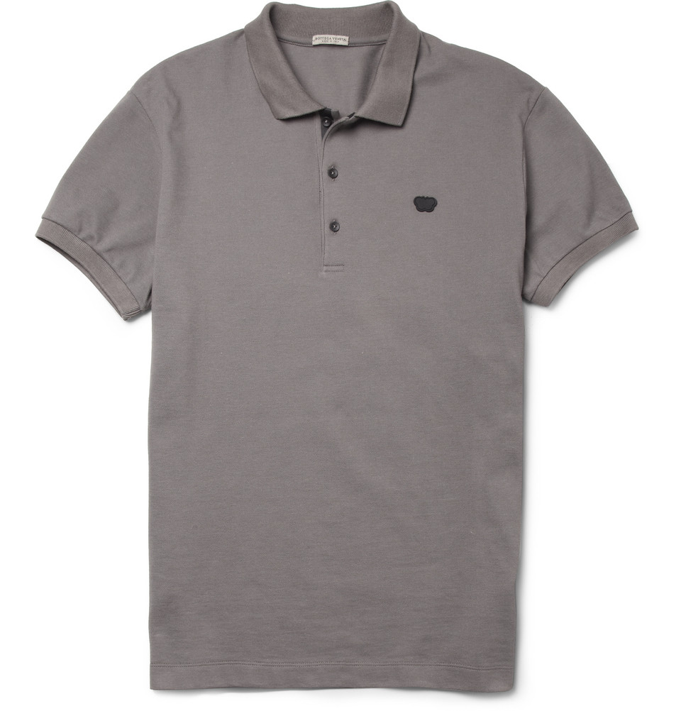 Bottega veneta cotton pique polo shirt in gray for men lyst for Bottega veneta t shirt