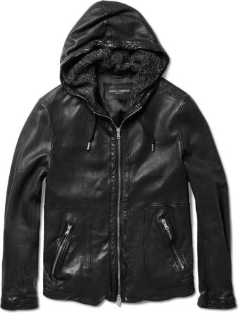 Dolce & Gabbana Hooded Leather Jacket - Lyst