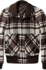 Dolce & Gabbana Plaid Wool Blend Bomber Jacket - Lyst
