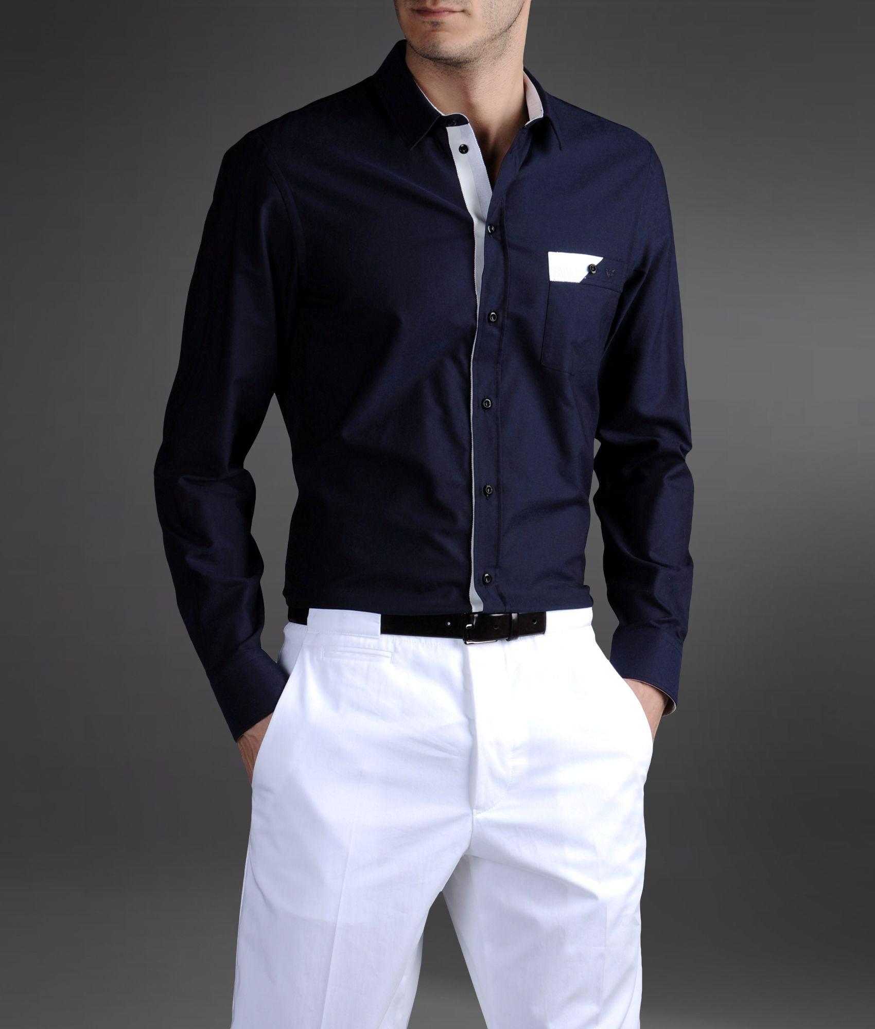 lyst emporio armani regular fit shirt in oxford cotton