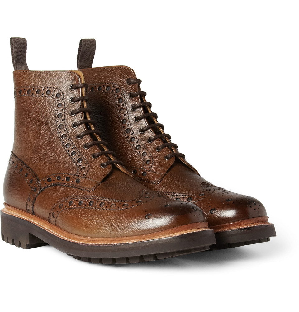 grenson fred texturedleather brogue boots in brown for
