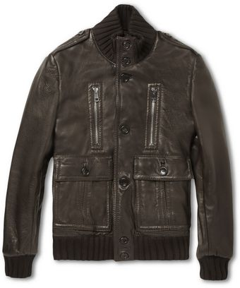 Gucci Padded Leather Bomber Jacket - Lyst