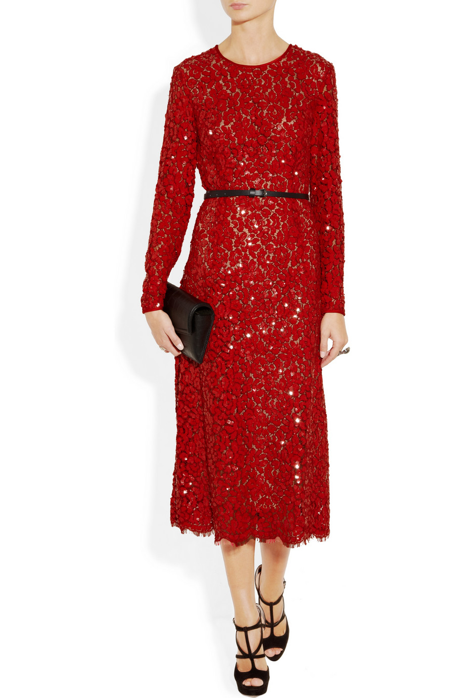 Lyst Michael Kors Sequined Lace Dress In Red