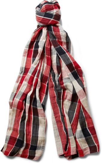 Paul Smith Double sided Woven cotton Scarf - Lyst