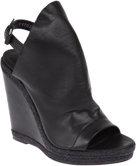 Balenciaga Sling Back Wedge Sandal in Black - Lyst