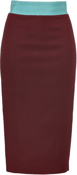 L'Wren Scott Bordeaux Woolblend Pencil Skirt with Mint Waist - Lyst