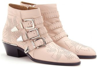 Chloé Studded Leather Buckle Boots - Lyst