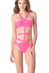 Hervé Léger Cutout One Piece Swimsuit