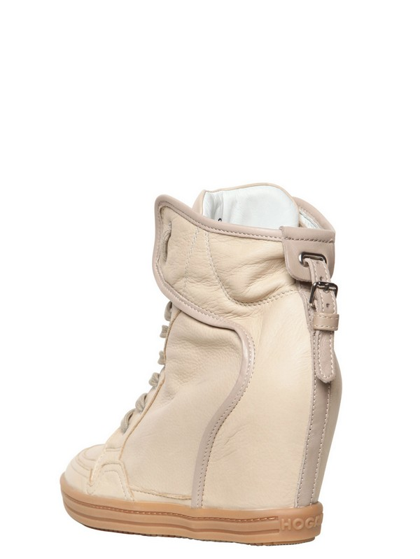 456dc4bdbae3 Lyst - Hogan Rebel 90mm Calfskin Wedge Sneakers in Natural