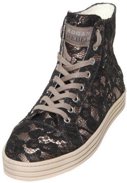 hogan rebel 20mm satin on lace high top sneakers in black