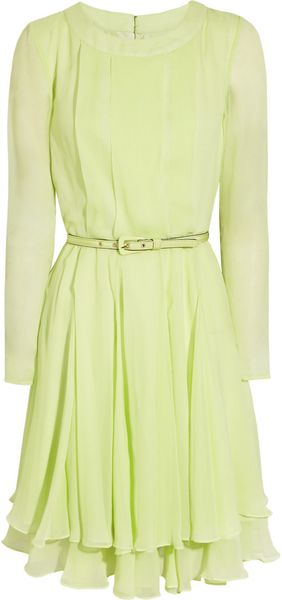 Oscar de la Renta Pleated Silk Chiffon Dress - Lyst