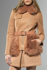 Patrizia Pepe Short Coat with Fur - Lyst