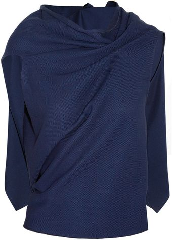 Roland Mouret Eugene Draped Cotton Piqué Top - Lyst