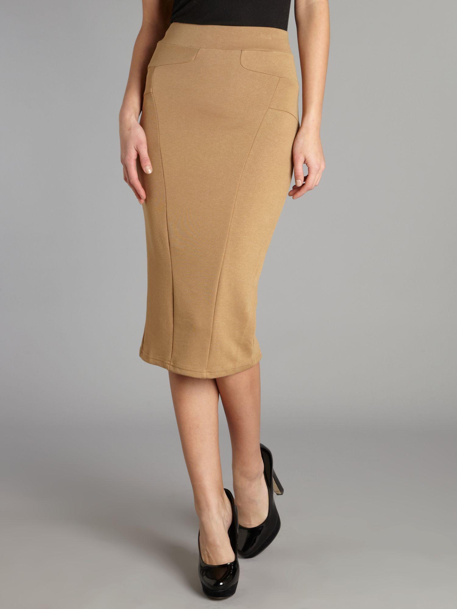 Tfnc london Midi Pencil Skirt in Brown | Lyst