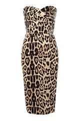 Tfnc Strapless Leopard Midi Dress