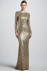Badgley Mischka Collection Sequined Gown with Cowl Back - Lyst