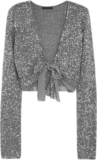 Donna Karan New York Sequined Pointelle Cashmereblend Shrug - Lyst
