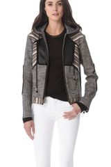 10 Crosby by Derek Lam Hooded Lurex Linen Jacket - Lyst