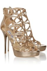 Jimmy Choo Blast Glitter Finished Patent Leather Sandals - Lyst