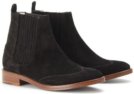 opening ceremony flat suede chelsea boots in black lyst