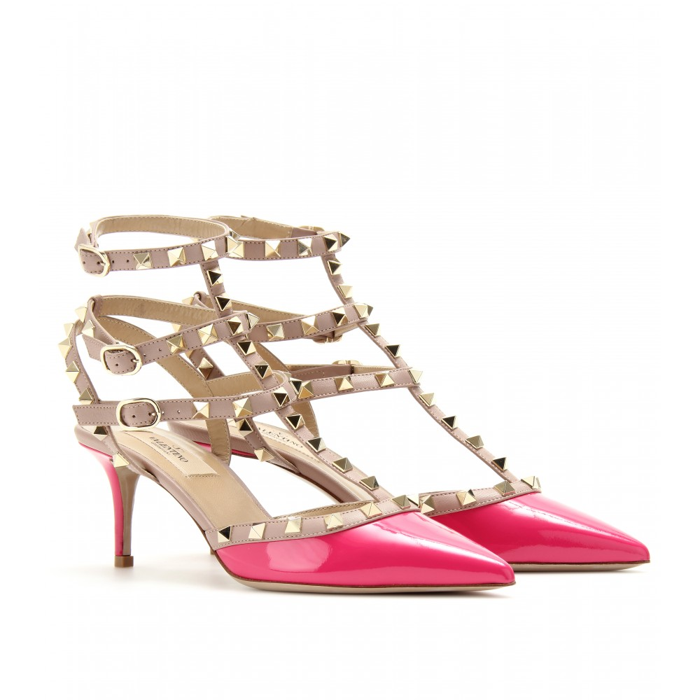 valentino rockstud kitten heel patent leather pumps in pink cerise lyst. Black Bedroom Furniture Sets. Home Design Ideas