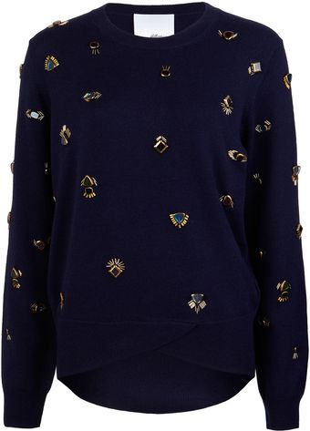 3.1 Phillip Lim Navy Jewel Embellished Jumper - Lyst