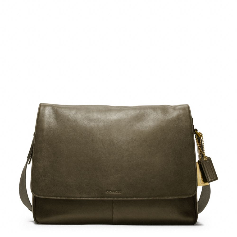 coach bleecker legacy leather courier bag in green for men
