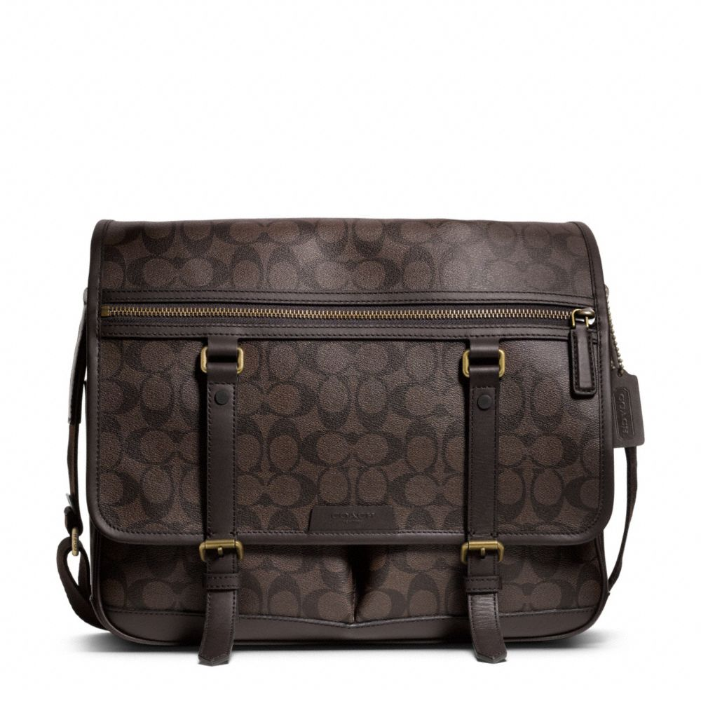 Lyst Coach Bleecker Signature Messenger In Brown For Men