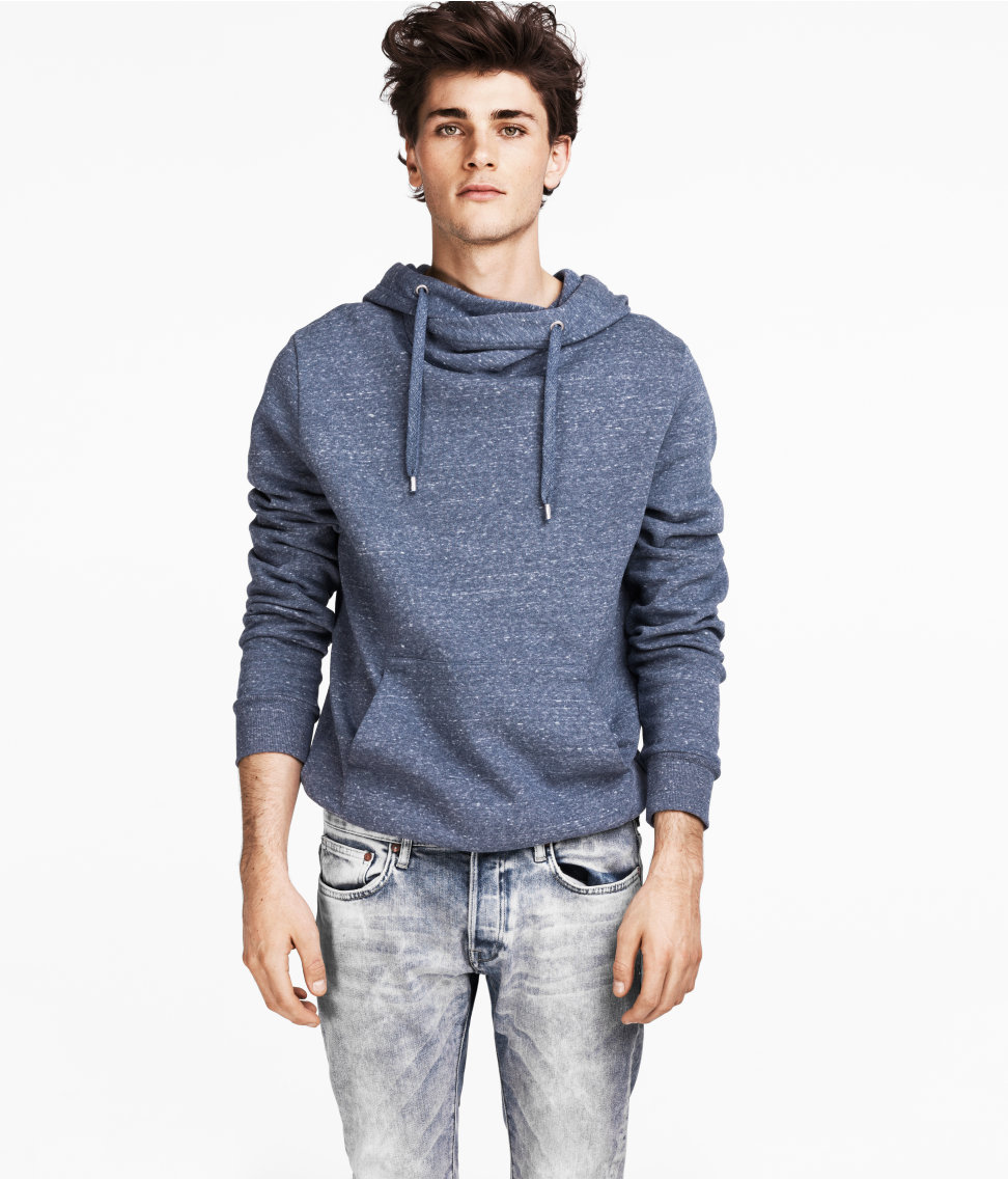 H&m Hooded Sweater in Blue for Men | Lyst