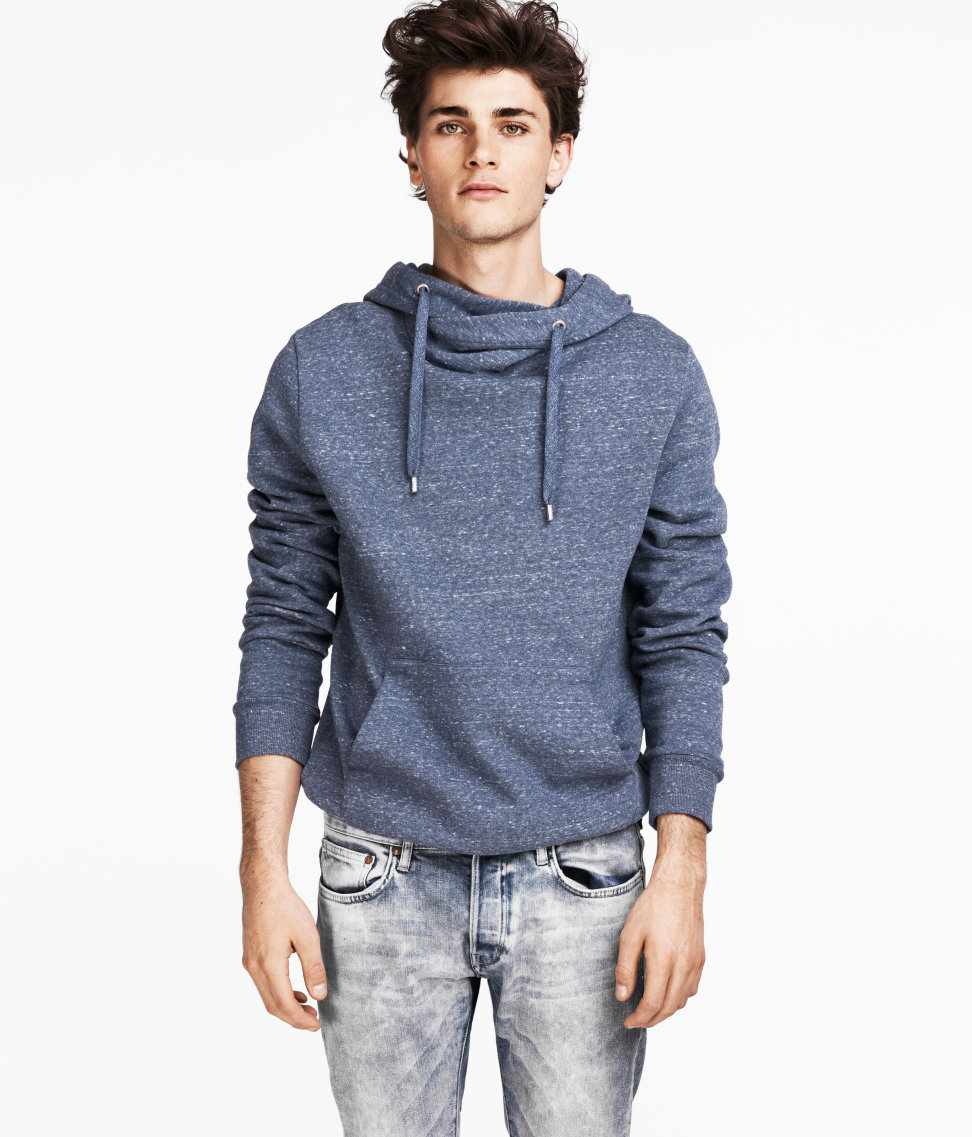 Lyst Hm Hooded Sweater In Blue For Men