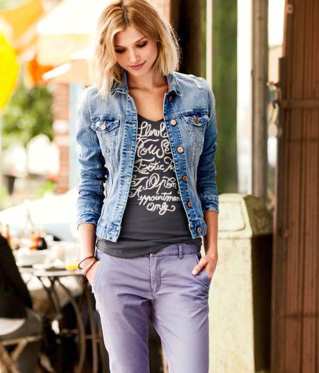 Collarless Jean Jacket H&m H&m Denim Jacket in Blue
